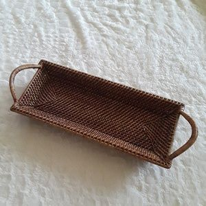 Pampered Chef Woven Wicker Basket Serving Tray